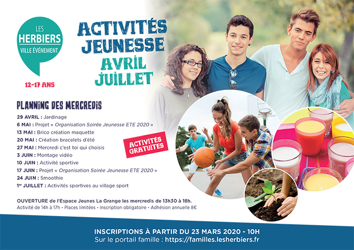 Animations jeunesse +12 ans printemps 2020